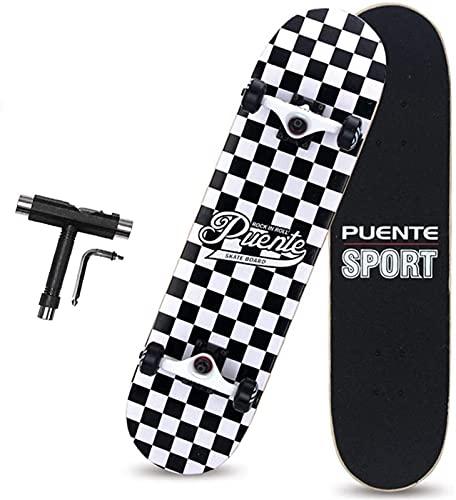 Complete Pro Skateboard, monopatín de arce canadiense de 8 capas, patineta de doble patada de doble kick de 31 pulgadas con rodamientos ABEC-9 y 95a ruedas de PU para niños para principiantes adolesce