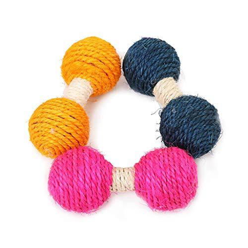 YOURPAI Rollball, Spielzeug, Sisalball, Tease-Spiel, Kau-Hantel, Langhantel, interaktives Trainingsspielzeug
