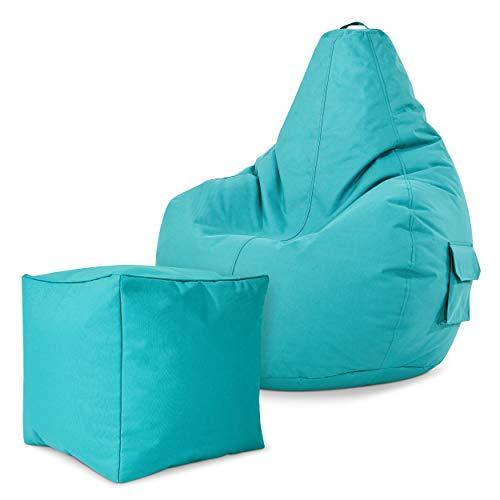 Green Bean Gaming © 2er Sitszack Set - Cozy Sitzsack mit 2 Seitentaschen + Cube Hocker - fertig befüllt - robust, waschbar, schmutzabweisend, wasserfest - für Kinder und Erwachsene - Türkis