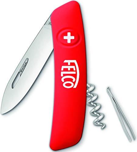 Felco Taschenmesser, Messer, Klappmesser (4 Funktionen inkl. Korkenzieher Klinge aus Edelstahl mit Sicherheitsarretierung) 501, Rot