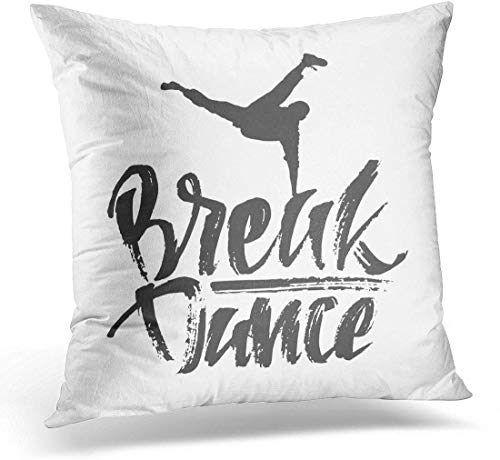 Cojín Composición de Letras Negras con Texto de Break Dance y Silueta de Bailarina Caligrafía Moderna Graffiti Almohada Decorativa Decoración para el hogar Almohada Cuadrada