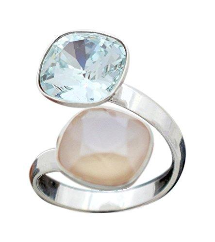Crystals & Stones Swarovski - DOPPELT SQUARE - DOPPELT FARBE - 925 Silber Ring Swarovski Elements - 925 Sterling Silber Damen Ring Größe Verstellbar (Light Azore/Ivory)