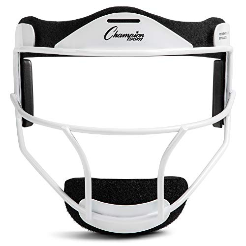 Champion Sports Steel Softball Face Mask - Classic Baseball Fielders Masks for Youth - Durable Head Guards - Premium Sports Accessories for Indoors and Outdoors - White