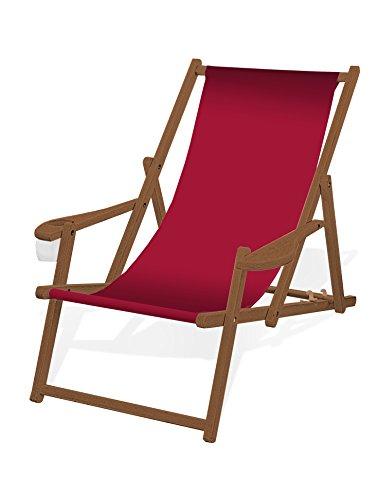 Holz-Liegestuhl mit Armlehne und Getränkehalter, Klappbar, mit dunkelbrauner Lasur, Wechselbezug (Rot)