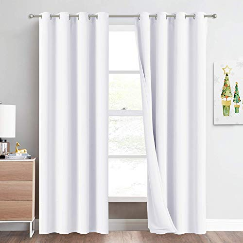 NICETOWN Full Shading Curtains for Windows, Super Heavy-Duty Noise Absorb Lined Blackout Curtains for Bedroom, Privacy Assured Window Treatment for Hotel (White, Pack of 2, 52 inches W x 95 inches L)