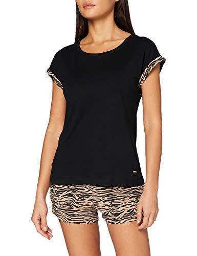 s.Oliver Damen Fashion Dreams Pyjamaset, Black/beige, 36/38