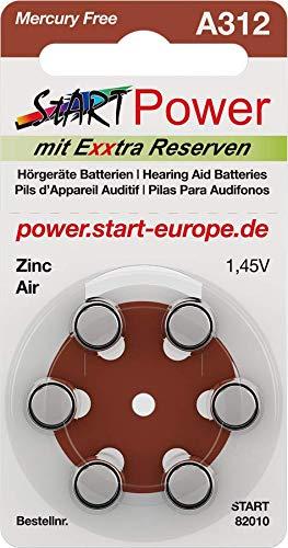 START - 60 Batterien für Hörgeräte - Typ A312-1.45V - 160mAh - PR41