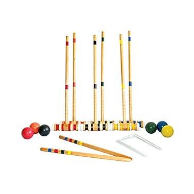 Triumph 6-Player Beginner Backyard Croquet Set Includes 6 Wood Mallets, 6 Balls, and Carry Bag