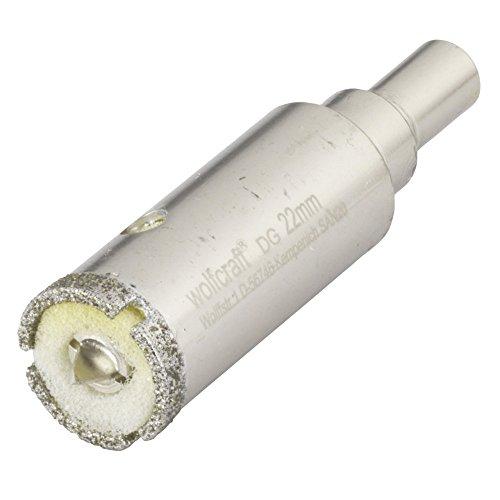 Wolfcraft 5922000 sierra de corona Diamant Ceramic con broca de centrado, vástago 10 mm, profundidad de corte 45 mm PACK 1, 10mm, metalizado