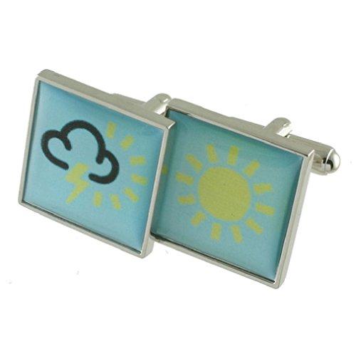 Prévision météo symboles boutons de manchette Boutons de manchette pour hommes en argent massif 925 + Boîte Message gravé personnalisé gratuit