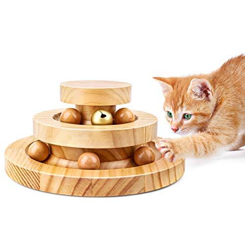 Wimaha Katzenspielzeug Spielzeug Katze aus Holz, Interaktives Spielzeug für Katzen,Cat Toy