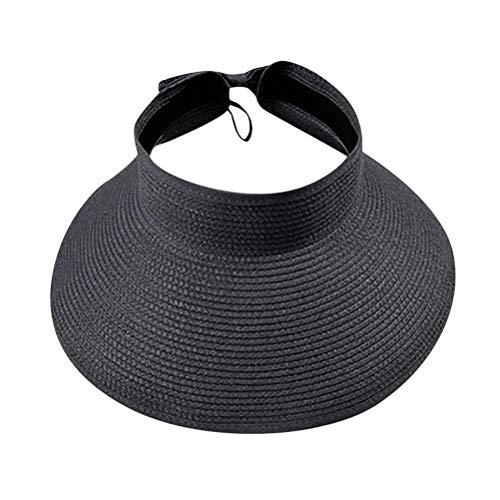 YIPUTONG Sombrero de Paja de ala Ancha, Gorra con Visera para el Sol, Sombrero de Visera para Mujer, Sombrero de Paja de Playa Enrollable Plegable de ala Ancha, Ajustable 55-59cm