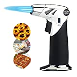Aebor Butane Kitchen Torch, 3 Flame Kitchen Culinary Torch with Safety Lock and Adjustable Flame for Desserts,for Desserts, Cooking, Food Melting, BBQ and Baking(Butane Gas Not Included) (Black)