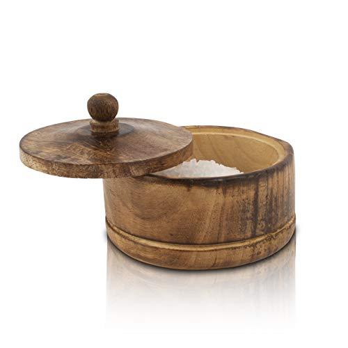 Dekoracyjna rustykalna drewniana miska na cukier z pokrywką szeroki ustnik słoik na słodycze przyprawy pojemnik na przyprawy orzechy serwowanie miska do serwowania przypraw zioła luźny liść herbata pojemnik nowość dom i kuchnia