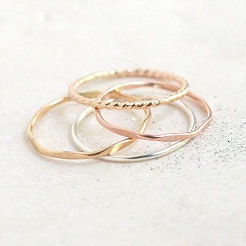 stacking rings. SILVER & GOLD set of FOUR mixed metal stack rings. minimalist rings. sterling silver, yellow, rose gold filled rings.