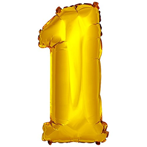 DekoRex® Folienballon Zahlenballon Luftballon Geburtstag Deko 40cm Gold Zahl: 1