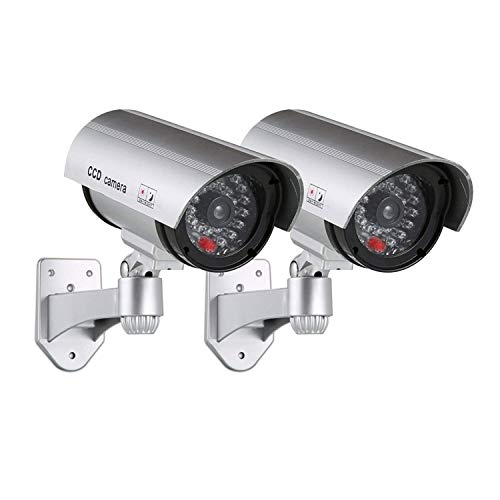 CARTSHOPPER 2 pcs Dummy Security Camera – Realistic Bullet CCD Design with Blinking LED Light, for Outdoor or Indoor Use, Ideal for Commerical Business Security or Residential– Silver (Pack of 2)