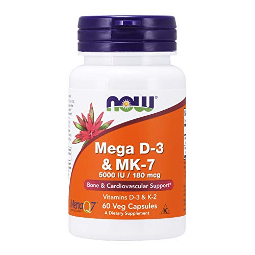 NOW Supplements, Mega D-3 & MK-7 with Vitamins D-3 & K-2, 5,000 IU/180 mcg, Bone & Cardiovascular Support*, 60 Veg Capsules