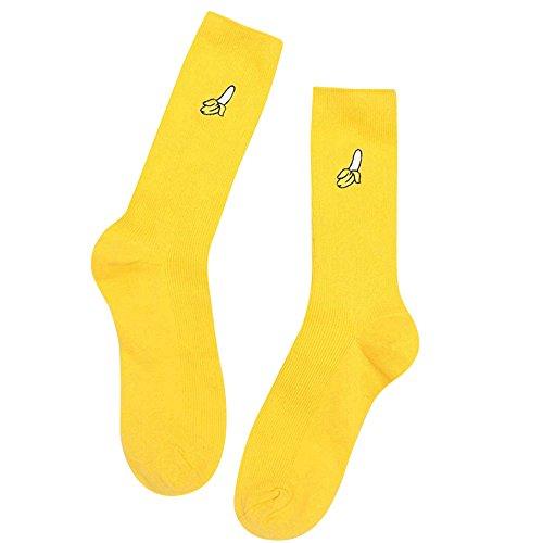Calcetines amarillos de algodón para mujer