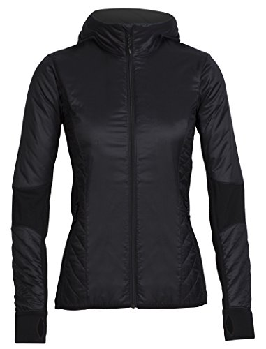 Icebreaker Merino Helix Hooded Jacket, Neuseeland Merino Wool, Damen, Schwarz/Jet Heather, X-Large