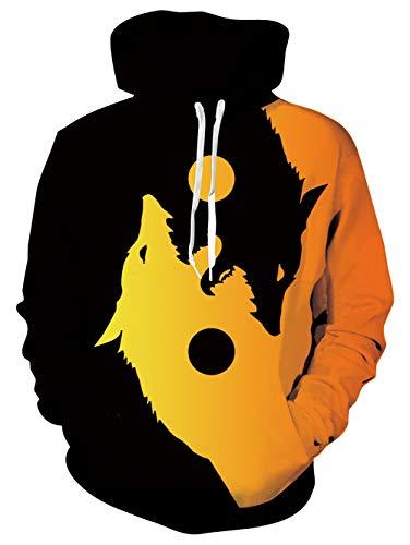 Rave on Friday Loup Sweat-Shirts à Capuche Unisexe 3D Printed Hoodie Manches Longues Animal Imprimé Sweat à Capuche Cool Pullover Sweats avec Poche,L,Tai Chi Wolf 2