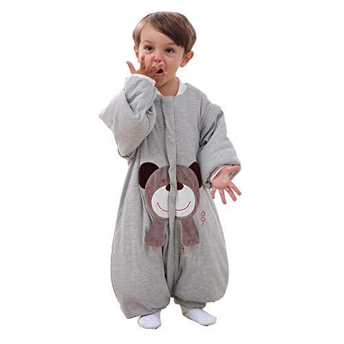 *baby schlafsack winter Strampler mädchen junge Jumpsuit-overall mit Beine schlafanzug baumwolle 2.5 tog,bar. (XL:100cm(3-4jährige), Grau)*