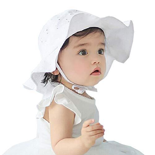 Carolilly Sonnenhut für Babys, Mädchen, Sommer, UV-Schutz, Baumwolle, lässig, Strand, Urlaub, 1 bis 4 Jahre Gr. Einheitsgröße, weiß