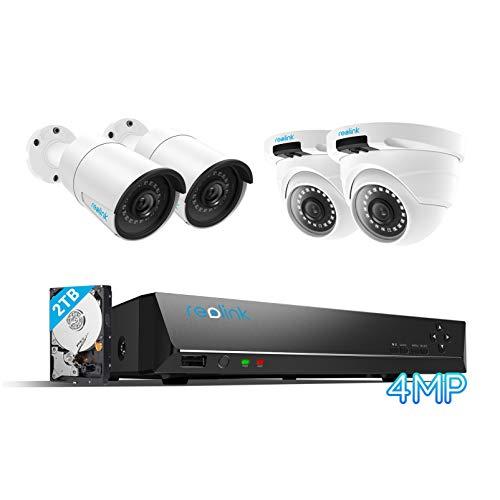 Reolink 4MP Kit de Cámara de Vigilancia PoE, con 4X Cámaras IP PoE Exterior y 8CH NVR con 2TB Disco Duro, Grabación Continua, Visión Nocturna Audio Detección de Movimiento, RLK8-410B2D2-4MP