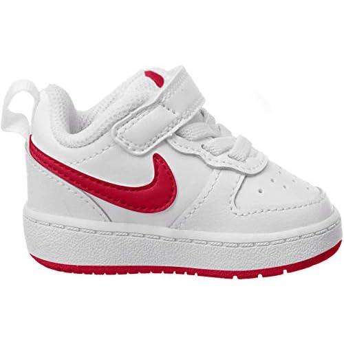 Nike Court Borough Low 2, Scarpe da Basket per Bambini Unisex-Bimbi, Bianco/Rosso università, 21 EU
