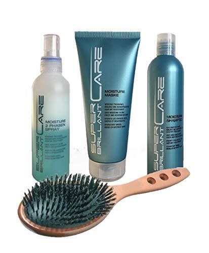 SBC Moisture Set: Shampoo 250ml + Mask 200ml + Leave-In Spray 200ml + HAIR FORCE Haarbürste Palisanderholz Naturborste Wildscheinborste