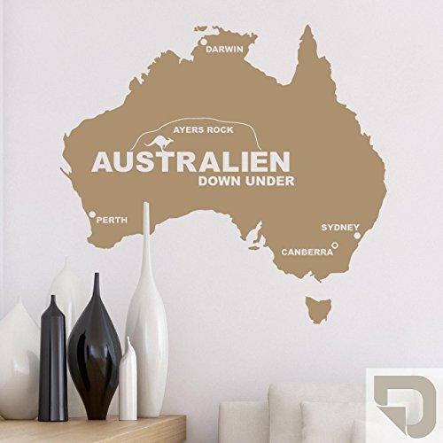 DESIGNSCAPE® Wandtattoo Australien - Down Under - Sydney, Canberra, Perth, Darwin, Ayers Rock 123 x 113 cm (Breite x Höhe) sandgrau DW806013-L-F101