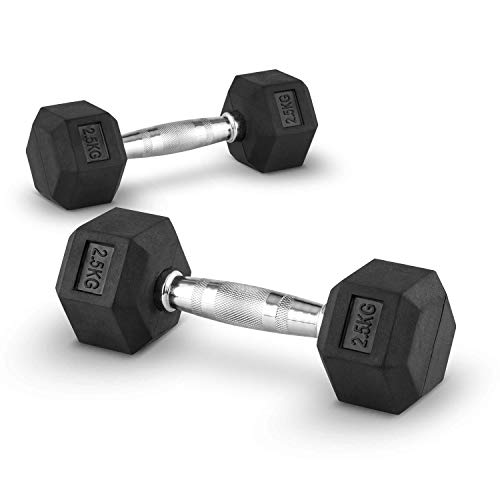 LiveUP Sports - Hex Dumbbell 8Kg Mancuerna Pesa Hexbell Pesas Entrenamiento Muscular Pesas de Mano Goma Resistente a los Golpes HexFlex Rubber