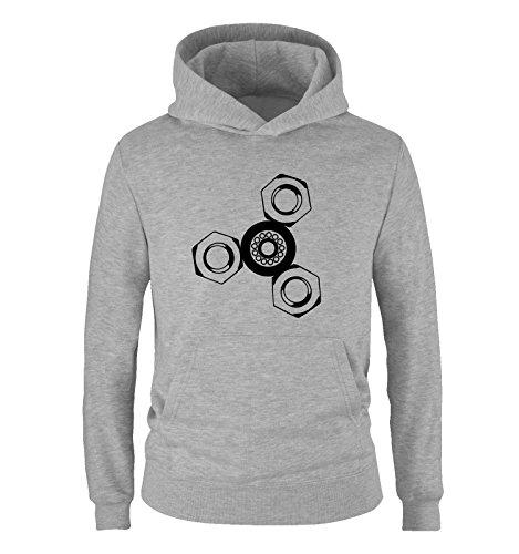 Comedy Shirts - Fidget Spinner - Jungen Hoodie - Grau/Schwarz Gr. 152