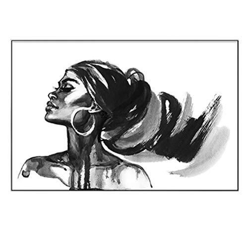 Cuadro De Mujer Con Estampado De Pared - Pintura En Blanco Y Negro Mujer Afro Negra Retrato De Chica Sexy Impresión De Lienzo Mural Decor Del Hogar Para Habitación Sala   Sin Marco,70×105cm