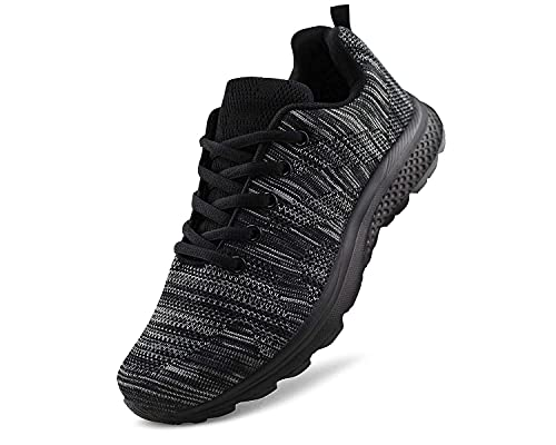 JABASIC Women's Breathable Knit Sports Running Shoes Casual Walking Sneaker (5 B(M) US, Black-1)
