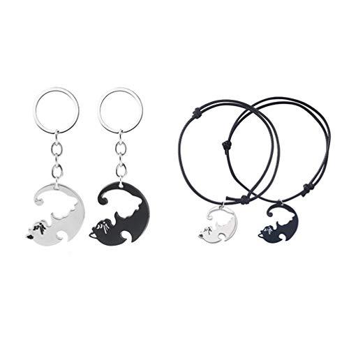 FENICAL Regalo de San Valentín Creativo Práctico Negro Blanco Gato Moda Llavero para Pareja Damas Hombres (1 * K527 + 1 * B29)
