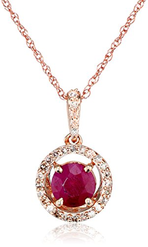 Jewelili 10K Rose Gold 5mm Natural Ruby Round with Diamond Halo Pendant Necklace, 18'