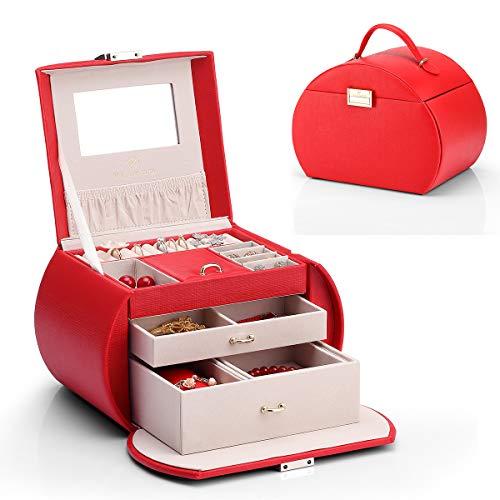 Vlando 半円形ジュエリーボックス 中規模の宝石箱母の日スイーツなプレゼント ミラー 鏡付き 高級感があり 収納力も抜群 ピアス ネックレス 指輪 リング アクセサリー 指輪置き ジュエリーバッグ 5色 (赤)