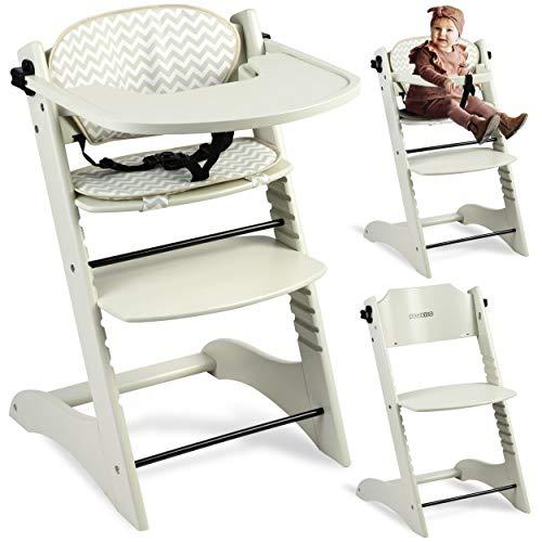 Kinderhochstuhl Hochstuhl Baby Kinderstuhl Babystuhl Mitwachsender, Verstellbar, 11-stufig verstellbare Sitz und Fußstütze Abnehmbares Tablett Polster Ricokids Loni (Hellgrau)