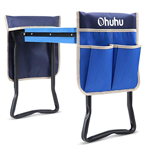 Ohuhu Garden Kneeler and Seat with Thicken amp Widen Soft Kneeling Pad and 2 Large Tool Pouches Upgraded Foldable Garden Stool Kneeling Bench Ideal Gift Choice for Parents Elders Gardener