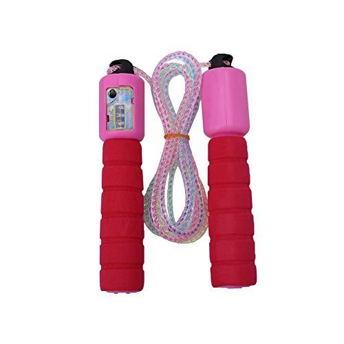 Pangding Springseil, Länge verstellbar Genau abzählbares PVC-Drahtseil mit bequemen Anti-Rutsch-Griffen für Männer, Frauen, Kinder, Fitness-Training(rot)