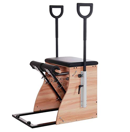 Wunder Pilates A1 Pro Split-Pedal Stability Combo Chair with Handles Oak Wood