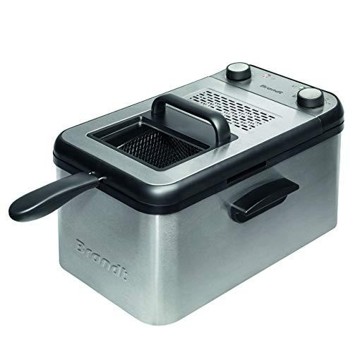 Brandt FRI3200 - Friteuse - Jusqu'à 1,2Kg de pommes de terre frites - Minuteur 30 min - Filtre anti-odeur - Thermostat réglable jusqu'à 190° - 3,2L - 2200W - Acier inoxydable