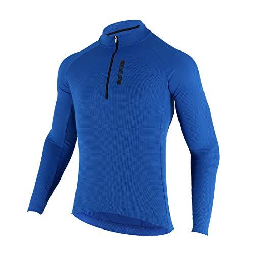 CATENA Men's Cycling Jersey Long Sleeve Shirt Running Top Moisture Wicking Workout Sports T-Shirt Blue, Small