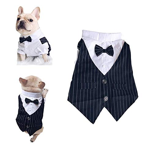 Meioro Pet Clothes Dog Shirt Dog Tuxedo Bow Tie Shirt Suitable for Wedding Party Puppy French Bulldog Pug (L, Black)