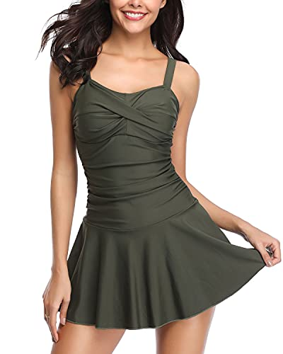 SHEKINI Women's Crossover Ruched Skirt One Piece Swimdress Swimsuit Bathing Suit (Army Green, Medium)