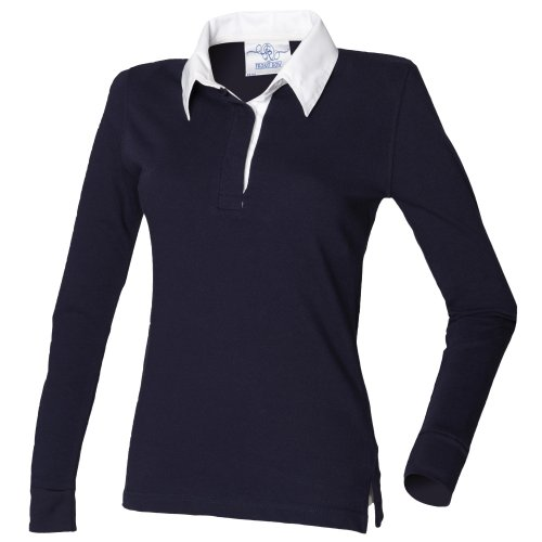 Front Row Damen Rugby Polo Shirt Langarm (Medium) (Marineblau/Weiß)