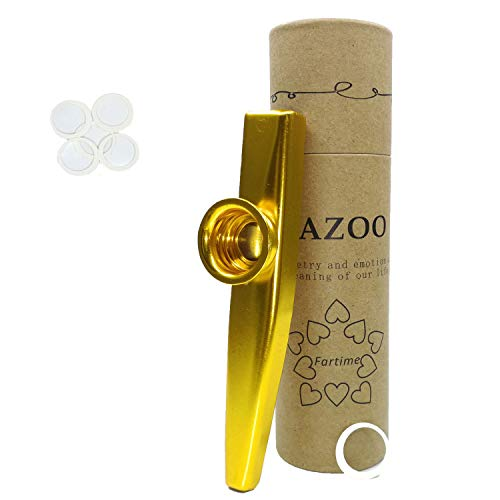 Fartime Gold Exquisite Aluminum Alloy Kazoo With 5 Kazoo Flute Diaphragms And A Beautiful Gift Box-Musical Instruments. (gold)