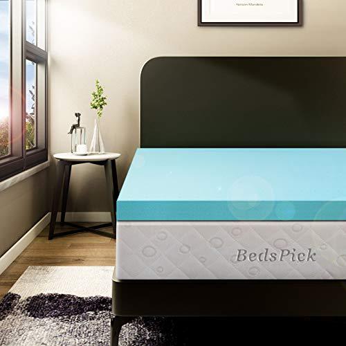BedsPick 3 Inch Memory Foam Mattress Topper Queen Size Soft Gel Memory Foam Mattress Pad