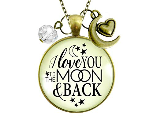 Gutsy Goodness 24' I Love You To The Moon and Back Necklace Inspirational Jewelry Half Moon Heart Charm